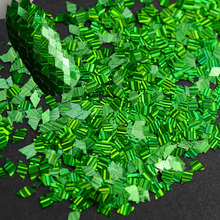 1 Box Rhombus Laser Green Paillette Dazzling Sparkly Stripes Dimaond Sticker Tips Nail Art Sequin Nail Flake Holo Designs TRLW08
