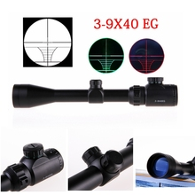 3-9 x40 Tactical Rifle Scope With Red Laser Dual Illuminated Mil-dot W / Rail Mount Pro Telescope Riflescopes For Hunting