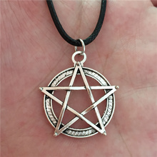 Punk 2016 Sporty Men's Wizard Magic Circle Silver Star Wicca Gothic Pentagram Charms Pendant Necklace for Women Men Accessories