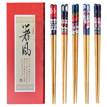 5Pairs/lot Japanese Style Natural Bamboo Chopsticks With Box Lucky Cat Printed Sushi Chopsticks Gift Food Sticks