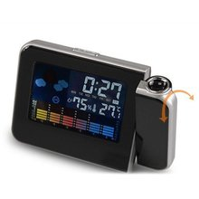 LCD Digital Temp Humidity Projector Clock LED Luminous Hygrometer Canlender