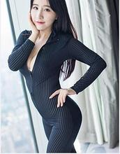 Buy 2 zipper striped Crotchless sheer bodysuit Full Body ultra-thin transparent long-sleeve open crotch Strap