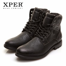 Men Winter Boots Big Size 41-46 Warm Comfortable Working Safety 2017 Winter Lace-Up Zipper Men Shoes Brand XPER #XHY12509BL(China)