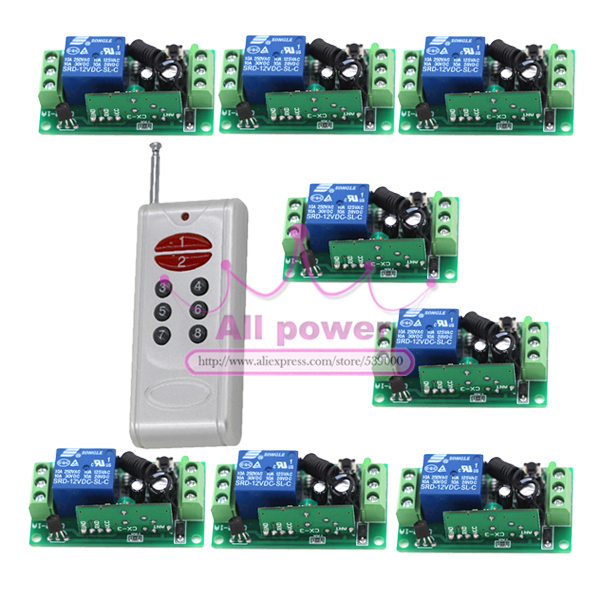 RF Remote Control Switch Wireless Remote Switch Smart control system Receiver and 8Keys Transmitter 315/433Mhz<br>