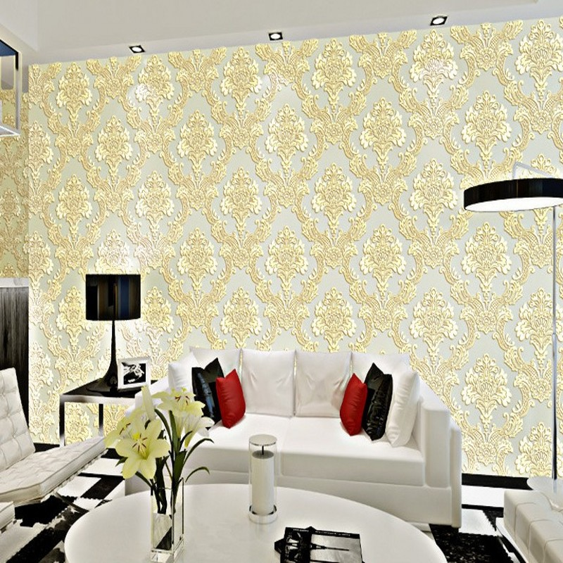Free Shipping European style Damascus wallpaper 3D stereo nonwovens high foam relief bedroom living room wallpaper<br>