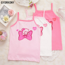 Girl cotton vest child world of tank girls underwear candy color girls tank tops kids clothing 3PCS A-358R-3P(China)