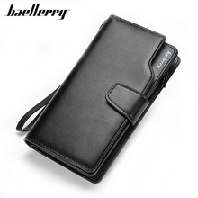 Leather Long Wallet Men Purse Brand Zipper Male Wallets Money Bag Clutch Multi-function with Card Holder Coin Purses Pocket(China)