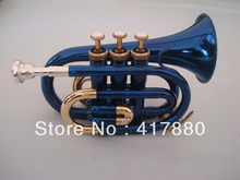 Free Shipping Blue Gold Plated Bb pocket trumpet boquilla para trompeta professional musical instruments trompet(China)