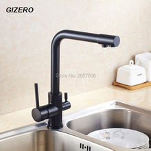 Free shipping Drink Water Faucet Kitchen Purifier Faucet Filter Taps Brass Taps Black Color Water Crane Dual Spout Faucet ZR370