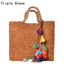 Triple Stone Tassel Straw Woven Big Tote Shoulder Bag Women Holiday Handbag 2017 Simple Summer Hand Made Fringe Beach Basket Bag