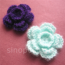 Handmade Sew-on Crochet Flowers 56mm colorful, quilting embellish scrapbook DIY cotton mohair knitting headwear garment sewing