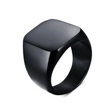 Mens  Womens Pinky Ring Stainless Steel Band Big Rings Silver-color Black Signet Polished Biker Bague Party Jewelry Anillos