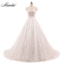 Miaoduo Vestido de Noiva Ball Gown Vintage Wedding Dresses Lace Appliques Crystal Sashes Robe de Mariage China Bridal Gowns