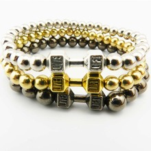 Hot Sale Men's Power Dumbbell Jewellry, 6mm No Magnetic Hematite Beads with Alloy Metal Fitness Barbell Charm Bracelets