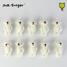 Mr.Froger 4cm mini plush white Teddy bear doll pendant wholesale dolls the cartoon nosegay materials Key chain Bouquet Stuffed