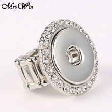 10pcs/lot Wholesale Elastic Crystal 18mm snap ring women's fashion jewelry Women Button ring(China)