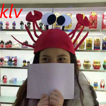 KLV Cute Christmas Festival Red Lobster Crab Sea Animal Hat Halloween Costume Accessory Fancy Party Adult Children Unisex Cap