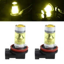 1 Pair 100W H11/H8 20 LED Fog Light 3030 Yellow Driving Bulb 9-30V PMMA lens External Lights