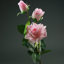 3 heads Artificial Real Touch Rose Flowers Decoration Fresh rose Artificial Flowers latex roses for wedding bouquet decoration(China)