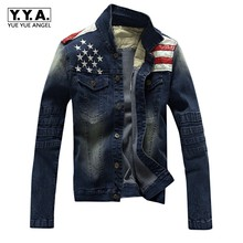 Top New Mens Jacket American Flag Suit Jeans Jacket PU Leather Patchwork Vintage Washed Distressed Casual Denim Jacket For Men