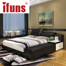 IFUNS luxury bedroom furniture home soft king double size bed frame genuine leather storage chaise tatami LED night USBcharge(China)