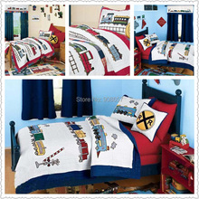 Hand made red blue train character bedding kids boys gift quilted quilt cover 100% cotton Twin Full queen size with pillow sham