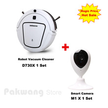 2017 Smart Camera Baby/Pet Monitor And D730 Wet & Dry Mop Robot vacuum cleaner for home 1000PA Auto charge vacuum cleaner(China)