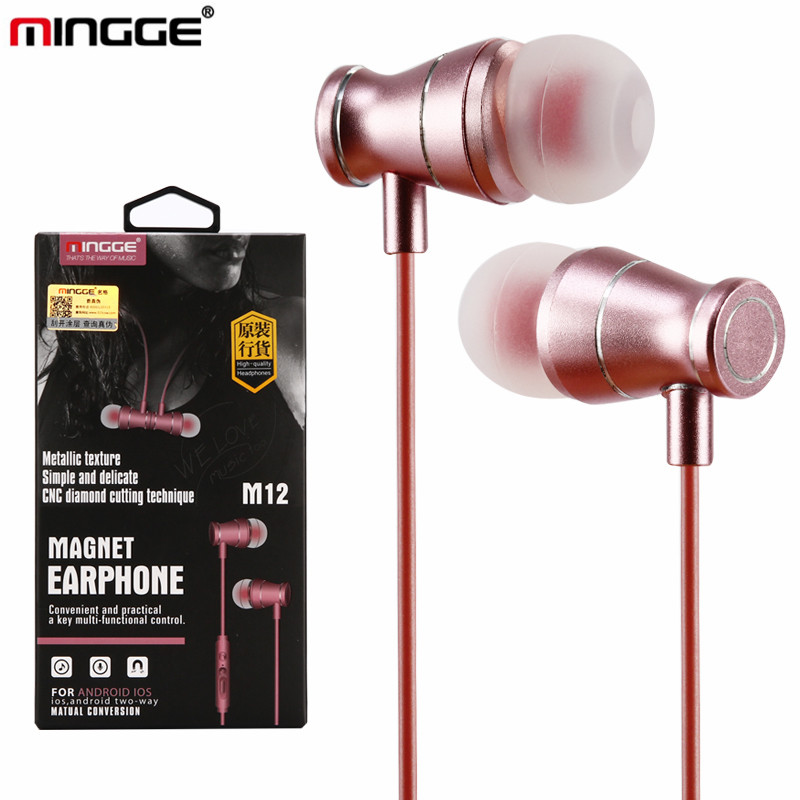 100 pcs/lot wholesale price metal headphone High Quality M12 In-Ear Wired Stereo Earphone headset Remote&Mic Earphone with pack(China (Mainland))
