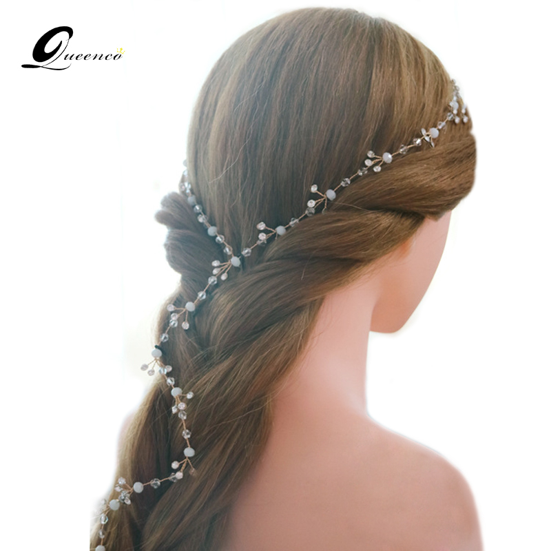 Long Tiara Bridal Tiaras Wedding Hair Accessories Crystal Pearl Beads Vintage Headpiece Prom Bridal Headbands Hairband(China (Mainland))