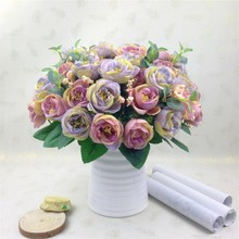 New 10 Heads Artificial Tea Rose Flowers Silk Flower Artificial flowers in decorative pots Weeding Artificial Camellia flowers(China)