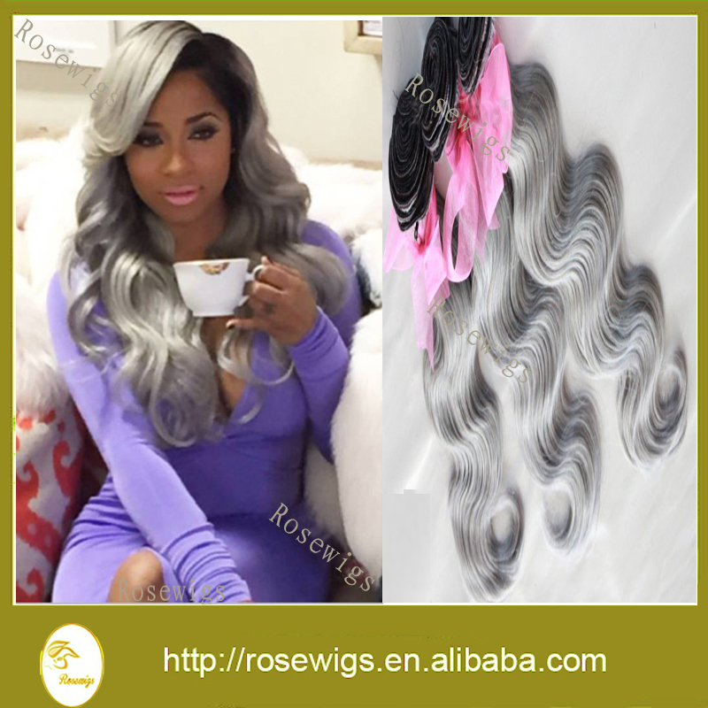 Free Shipping 7A Malaysian Ombre Human Virgin Hair Two Tone #1b/Silver Unprocessed Malaysian Body Wave Ombre hair Weaves<br><br>Aliexpress