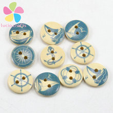 50pcs/lot Diameter 1.5cm round Wooden Buttons Blue Nautical Design Scrapbooking Sewing Accessories 2 Holes 004010063