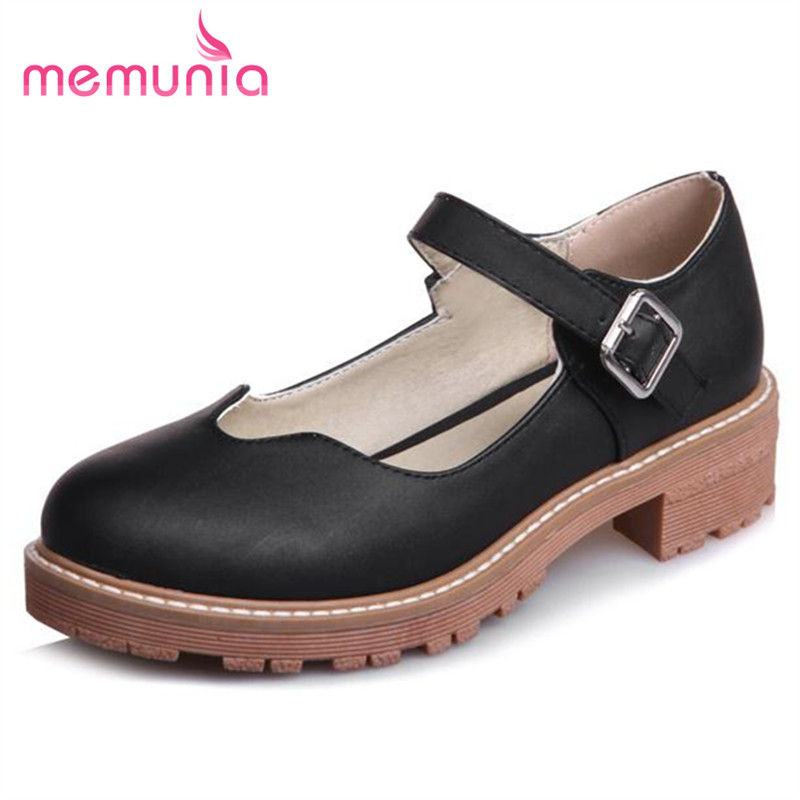 MEMUNIA Big size 32-43 women flats platform shoes buckle shallow round toe fashion shoes single college style party fashion <br><br>Aliexpress
