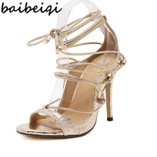baibeiqi gold black zapatos mujer women pumps bridal shoes gladiator sandals bandage strappy snakeskin print leather sandals