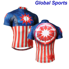 2017 Long-lasting Captain American Graphic Short Sleeves Cycling Jersey Workout Fitness Bike Clothing Body Building T-Shirt