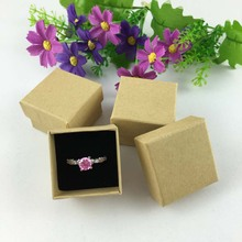 100PCS/lot 4*4*3cm  Lovers Ring Box/ Kraft Jewelry Displays Boxes Earrings/Pendant Box Ring Packaging Cases/Boxes Accept Custom