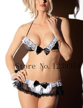 Sexy lingerie sexy costumes underwear Exotic Apparel role play slips Nurse maid cosplay uniform Hat + bra + panties mini skirt