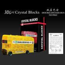 New 3D Crystal Puzzles Flashing Ball Puzzle Double-Decker Bus Educational Toys Christmas Kid's Present New Year Gift(China)