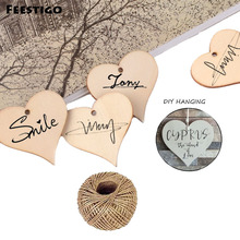 Feestigo 50Pack 5cm Wooden Love Heart Slices Wood Art Craft Blank Name Tags With Hole For Wedding Party Home Hanging Decoration(China)