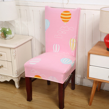 Spandex Elastic Polyester Chair Covers Hot Air Balloon Printed Pink For Weddings Party Dining V20