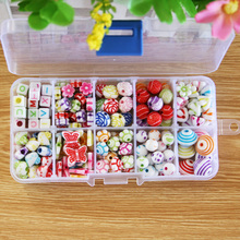 195pcs Acrylic Beads set Accessories Girl Toys Mix Color Spacer Kids Beads with Box for Children DIY Bracelet Jewelry(China)