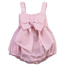 Pink Infant Kids Romper Baby Girls Striped Bow Romper Jumpsuit Outfits 0-24M NEW Arrive 2016
