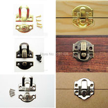 12pcs Decorative Iron Antique Brass Silver Golden Jewelry Box Gift Wine Wooden Case furniture Hasp Latch Lock Clasp 26mm X 29mm