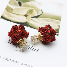 2016 hot new design fashion brand jewelry elegent metal Rose double side pearl stud earrings for women colors mixed earings