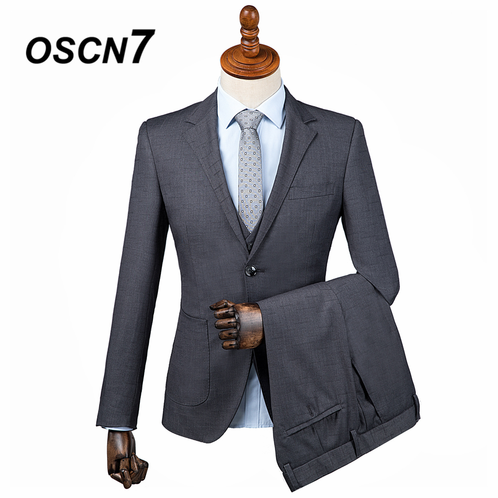 OSCN7 2019 Plaid Custom Made Suits Men Slim Fit Wedding Party Mens Tailor Made Suit Fashion 3 Piece Custom Supplier DM 015
