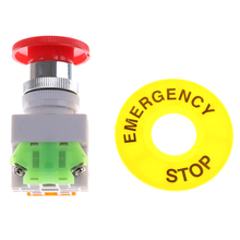 Red Mushroom Cap AC 660V 10A 1NO 1NC DPST Switch Equipment Lift Elevator Latching Self Locking Emergency Stop Push Button Switch(China)
