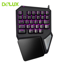 Delux T9 Pro 7 Colors LED Backlit Single Hand Professional Gaming Keyboard Wrist Support 1.8m USB Wired Anti-Ghosting for Gamer