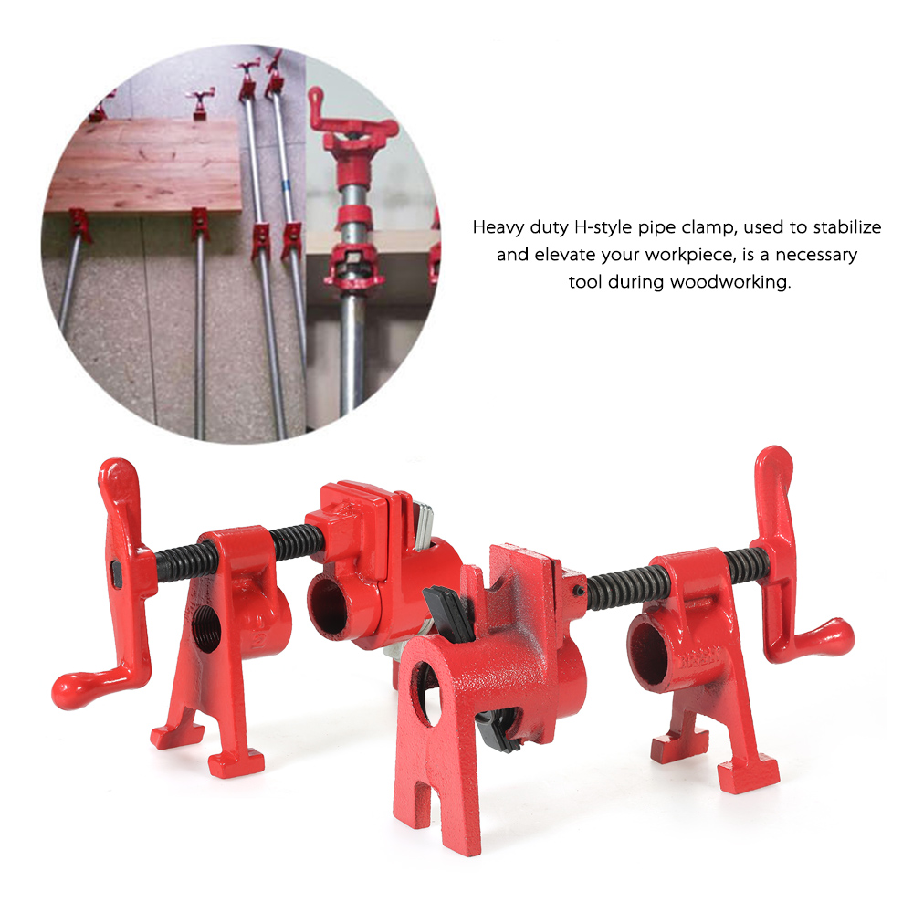 3/4 inch Heavy Duty H Style Pipe Clamp Woodworking Wood Gluing Pipe Clamps Tool<br>