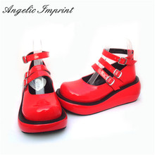 Japanese Harajuku Lolita Cosplay Girls Gothic Punk Red Patent Leather Wedge Shoes(China)