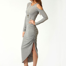 Sexy Women Maxi Dress Autumn Long Sleeve Cut Out Shoulder Ruched Side Bodycon Dress Clubwear Cotton Midi Dress Grey(China)